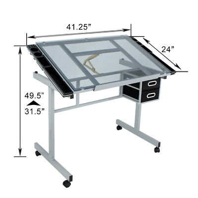 Adjustable Rolling Drawing Drafting Table Tempered Glass Art Craft Work Station