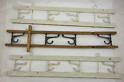 Lot of 3 Antique Folding Hat Coat Cast Iron Hook Racks