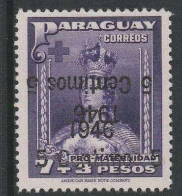 Paraguay 5133 - 1956 SURCHARGE DOUBLED, ONE INVERTED unmounted mint