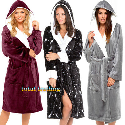 Ladies Womens  Coral Fleece Bath Robe Dressing Gown Wrap Housecoat Warm