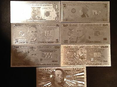 $US Silver 7 piece/pcs BANKNOTE SET of the 1,2,5,10,20,50,100 w protect sleeve