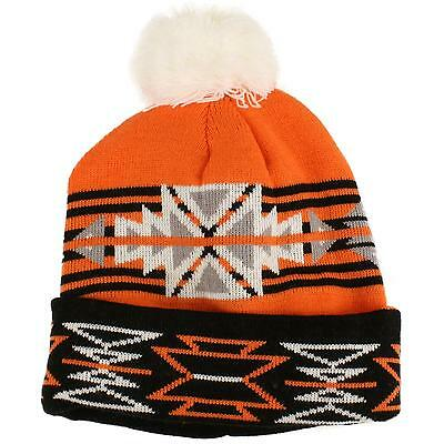 364918059a513 Winter 2ply Thick Tribal Chunky Knit PomPom Beanie Skull Ski Snow Hat Cap  Orange