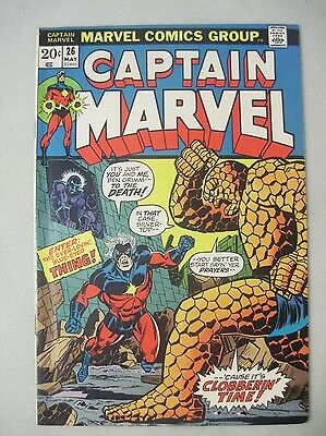 Captain Marvel #26 May 1973 Marvel Comics The Thing Jim Starlin 1St Thanos Cover