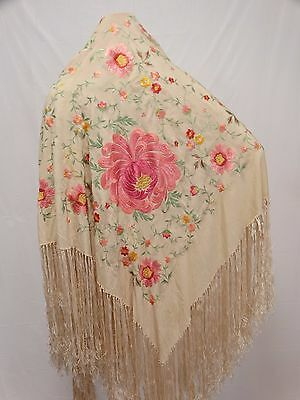 Antique Silk Piano Shawl Floral Embroidered Long Fringe Vivid Pink Flower