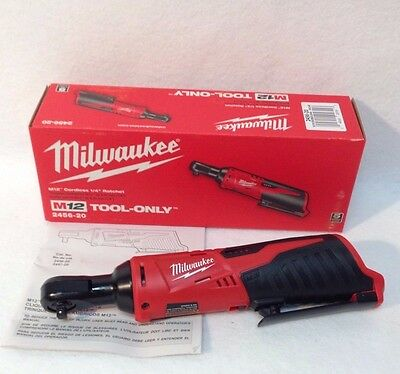 MILWAUKEE 2456-20 New 12V  M12™ Cordless 1/4 In. Ratchet -New In Box- Bare Tool
