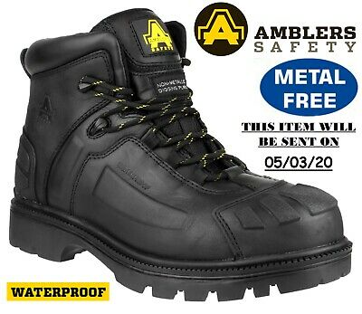 New Mens Waterproof Leather S3 Midsole Steel Toe Cap Hiker Safety Ankle Boots Sz