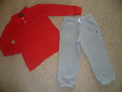 Genuine Boys Designer RALPH LAUREN New Label Long Sleeved Polo Shirt & Joggers 4