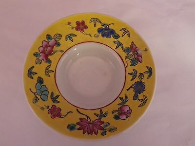 SUPERB ANTIQUE CHINESE POTTERY SAUCER FOR TALL BOWL 4 CMS BASE SIZE in V.G.U.C.