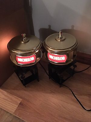(VTG) Michelob Beer Anheuser-Busch set of 2 Light Up Wall Sconces Back Bar signs