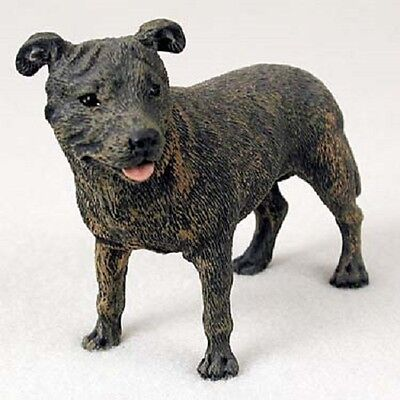 STAFFORDSHIRE BULL TERRIER Dog HAND PAINTED FIGURINE Resin COLLECTIBLE puppy NEW