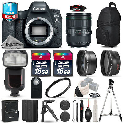 Canon EOS 6D Mark II DSLR Camera + 24-105mm USM + Flash + EXT BATT +1yr Warranty