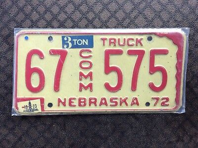 1973 Nebraska Commercial Truck License Plate 67 575