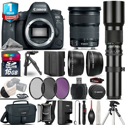 Canon EOS 6D Mark II + 24-105mm STM + 500mm + EXT BAT + 1yr Warranty - 16GB Kit
