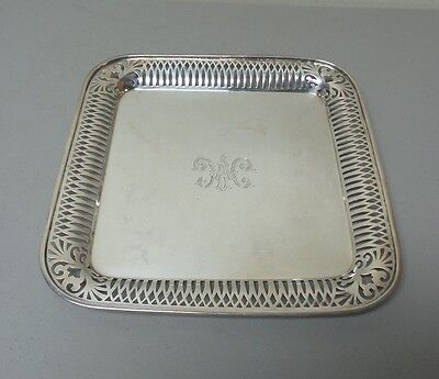 "BEAUTIFUL VINTAGE ESTATE STERLING SILVER 12"" TRAY, PIERCED BORDER, 755 grams"