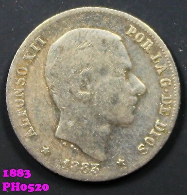 PHILIPPINES SPAIN 20 Centimos 1883 90% silver circulated coin