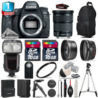 Canon EOS 6D Mark II DSLR Camera + 24-105mm STM + Flash + EXT BATT +1yr Warranty