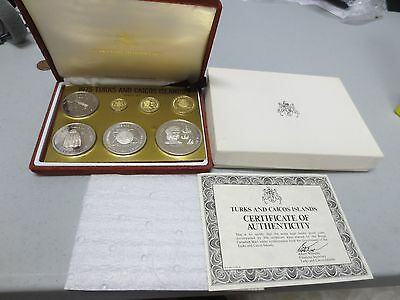 1975 Turks and Caicos Islands Proof Set (Sterling & Gold Coins) - SCARCE