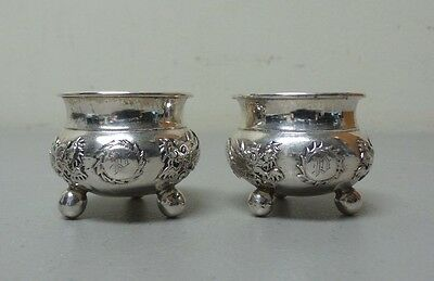 Great Pair Chinese Export Sterling Silver Salt Cellars, Dragons Chasing Pearl