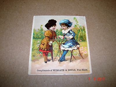 Antique Wingate & Gould, Fine Shoes Trade Card, Girls Playing With Dolls