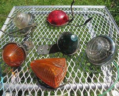 Vintage Lot 6 Old Classic Car Indicator Lights Lamp Green Red Clear Orange
