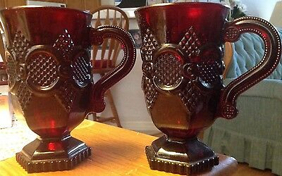 Avon Ruby Red1876 Cape Cod Collectibles - 2 Pedestal Mug Set of Two New no box