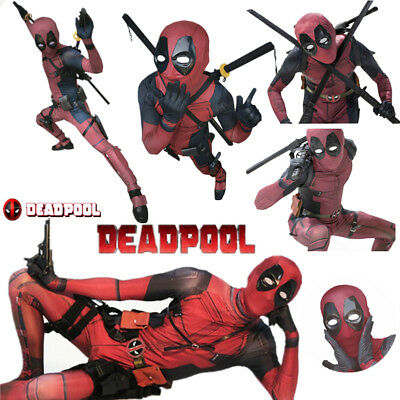 Superhero Cosplay Costume Deadpool Avengers Lycra Spandex Full Body Halloween