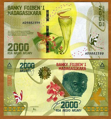 Madagascar, 2000, Ariary 2017 P-New A-prefix UNC > Completely Redesigned, Lemur