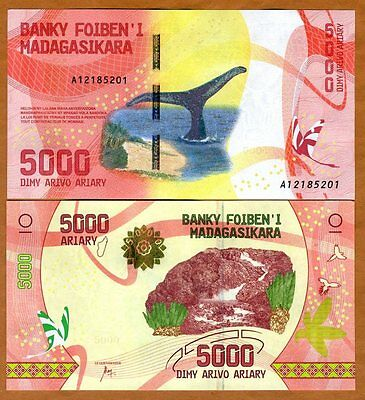 Madagascar, 5000, Ariary 2017 P-New UNC > Completely Redesigned, Whale