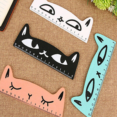 Cute Cat Wooden Ruler Stationery School Measuring Animal Face Kids Party