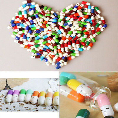 Message Capsule Letter Love Pill Wishing Bottle With Paper Scrip Storage 50Pcs