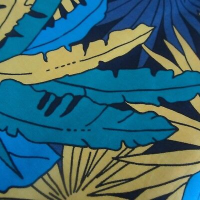 55Cm X 112Cm Vintage Cotton Fabric 1980S Retro Blue Yellow Palms