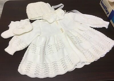 Vintage Hand Knitted Baby Clothes Jacket Bonnet Bootees