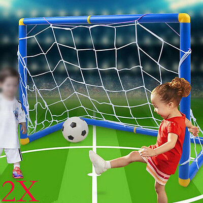 2X Foldable Football Gate Soccer Goal Pop Up Net Kids Outdoor Play Training Toy