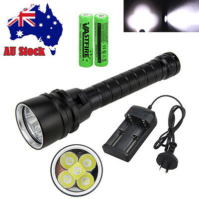 Underwater 100m 15000lm 5xT6 LED Diving Flashlight Torch Lamp 2x18650 Waterproof