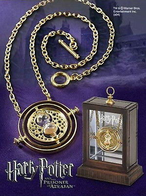 Unisex Time Turner Necklace Hermione Granger Rotating Spins Gold Hourglass Gift
