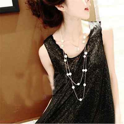 Necklace Pearl Multilayer Fashion Chain Long Pendant Jewelry Women Statement CU