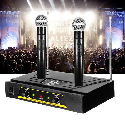 Pro Dual Channel Receiver VHF Wireless 2 Handheld Microphone Mic System Set 150M