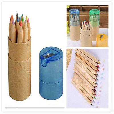 Child Colored Art Sketch Drawing Pencil with Sharpener 12 Piece New