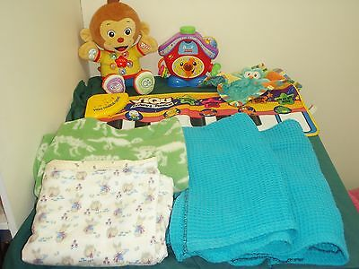 bulk lot baby boy toys inc educational fisher price vtech with sounds & blankets