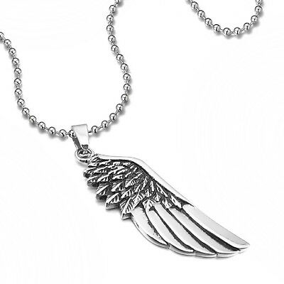 MENDINO Men's Women's Stainless Steel Pendant Necklace Angel Wing Feather Silver
