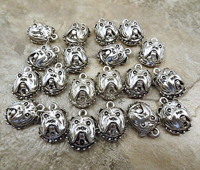 20 Pewter Charms - BULLDOG FACE - 5497