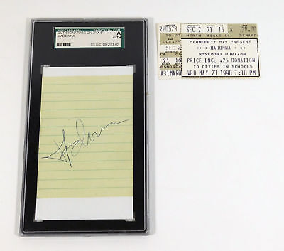 Madonna Signed Cut on a 3 x 5 Index Card + Concert Ticket Stub SGC Auto Slabbed