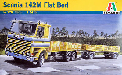 Scania 142M Flat Bed Truck + Anhänger Trailer 1:24 Model Kit Bausatz Italeri 770