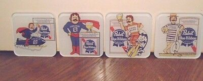 4 Gorgeous Pabst Blue Ribbon Beer Heavy Acrylic Bar Coasters, Very Good Cond.