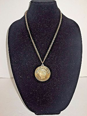 CAESAR'S PALACE, Vintage Collectible, Heavyweight Pendant & Chain, Gold-Tone EUC