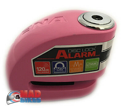 Xena XX6 Disk Lock Alarm 6mm Pin Motorcycle Motorbike Scooter Security in Pink