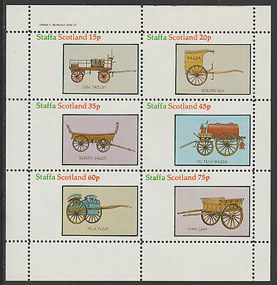 GB Locals - Staffa 5158 - 1982 HORSE-DRAWN WAGONS perf set of 6 unmounted mint