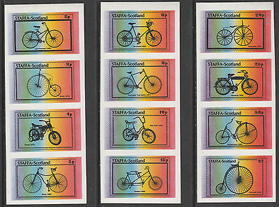 GB Locals - Staffa 5163 - 1977 BICYCLES  imperf set of 12 unmounted mint