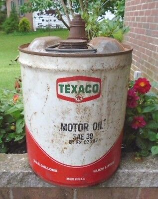 Vintage 1976 Texaco Star Sae 30 New York 5 Gallon Oil Can, No Dents, Very Good