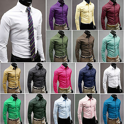 Mens Plain Business Dress Shirt Long Sleeve Casual Luxury Formal Shirts Tops New